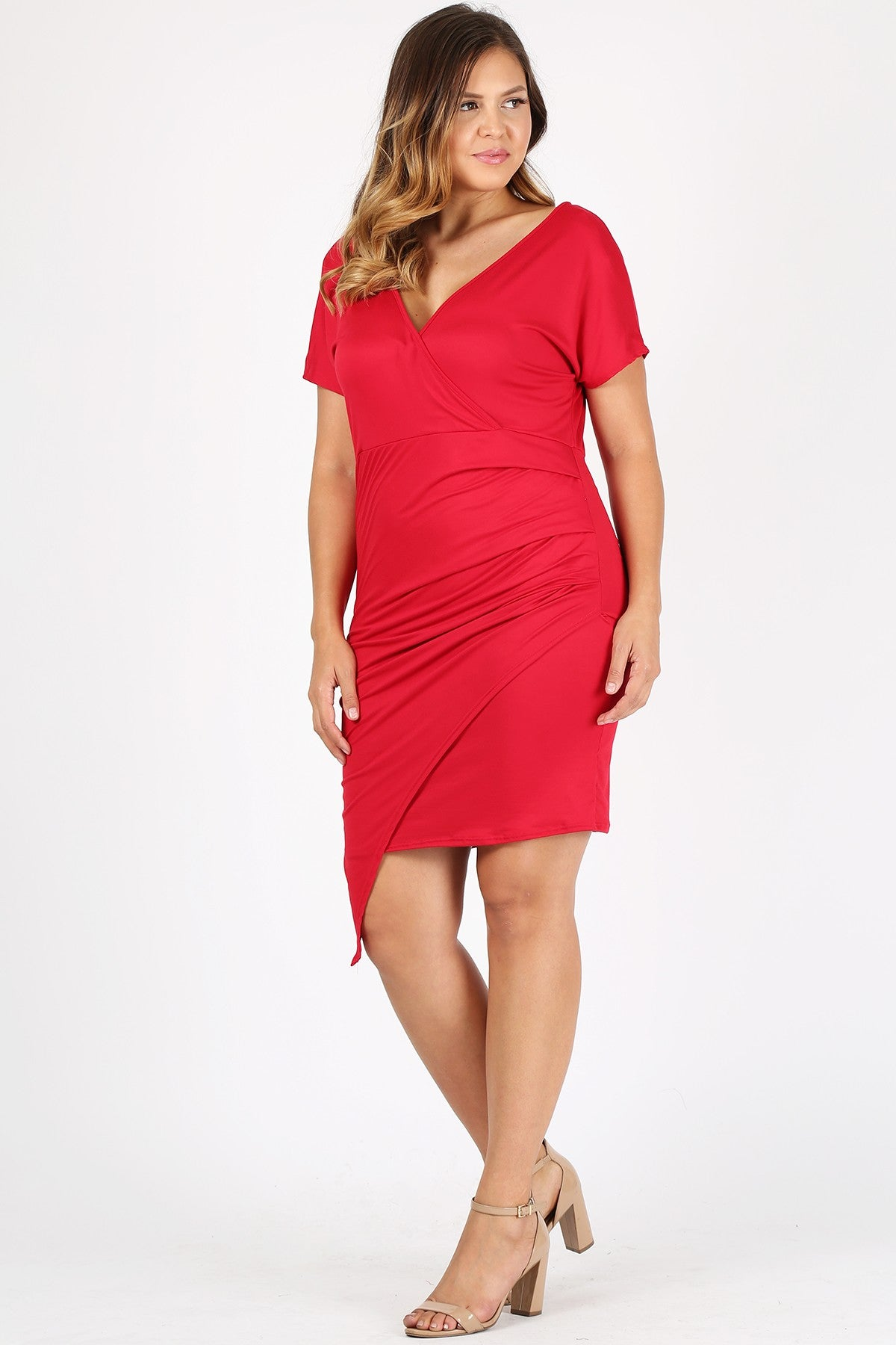 Plus Size Bodycon Fit Surplice V Neckline Layered Body Asymmetric Hem Cinched Waist Wrap-Front Dress