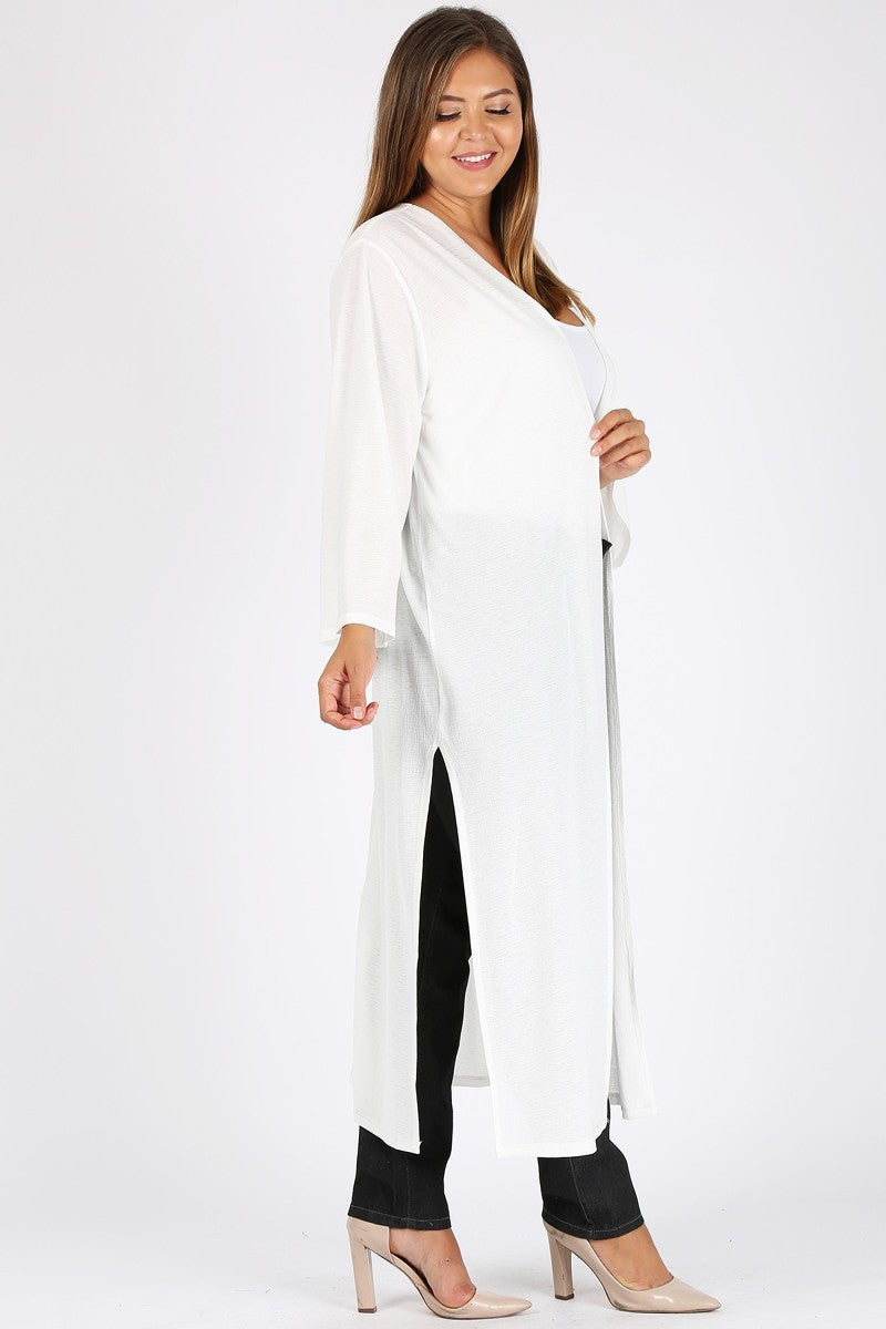 Women's Plus Size Long Cardigan - Casual Open Front Lightweight Long Sleeve Maxi Duster Sweaters Coat with Side Slits