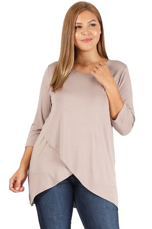 Plus size solid overlap hem front 3/4 sleeve top