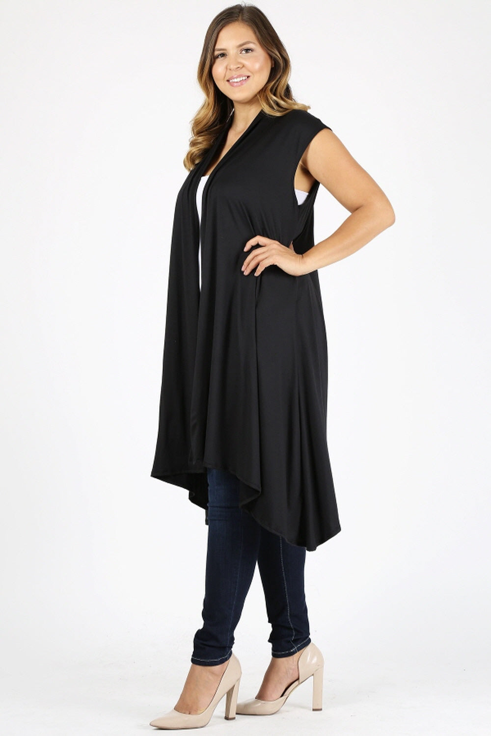Women Plus Size Solid Color Cap Sleeves Asymmetrical Hem Loose Fit Open Front Long Vest Cardigan