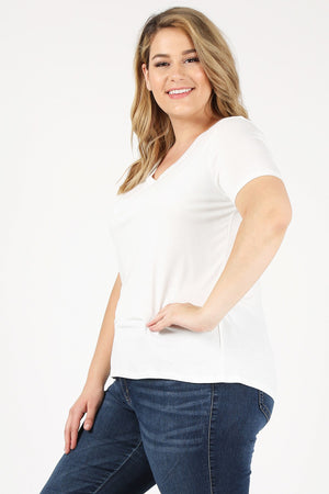Women's Plus Size Short Sleeve V-Neck Solid Jersey Casual Basic Tee T-Shirt Top