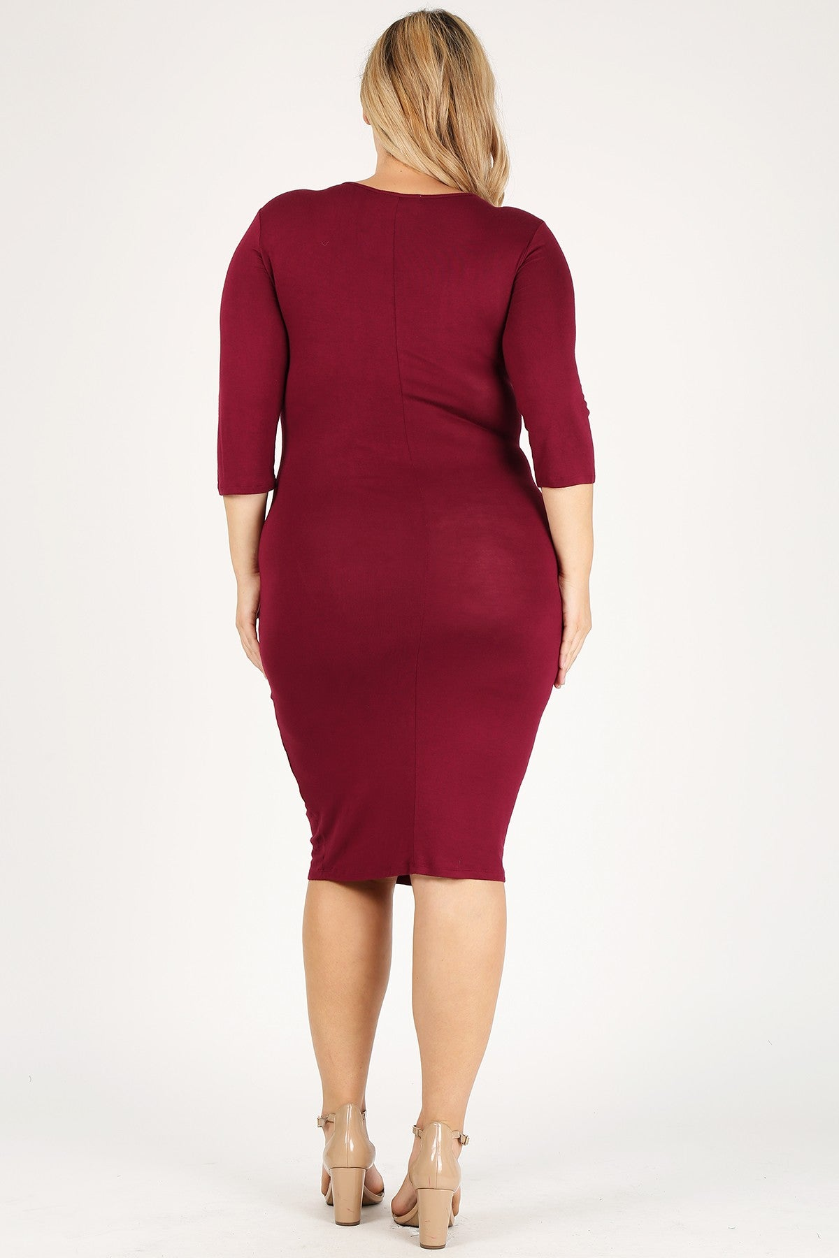 Plus size bodycon 3/4 length sleeve knit midi dresses