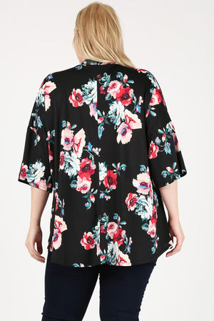 Women's Plus Size Kimono Cardigan - Casual Floral Print Loose Lightweight Open Front Cover Up Chiffon Tops Shirt