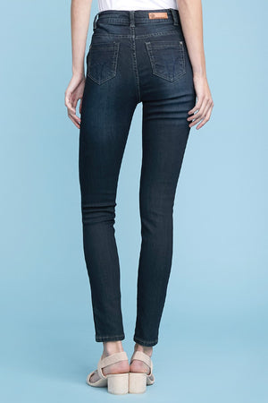 American Blue Women's High-Rise High-Waist Whiskered Wash Skinny Denim Jean