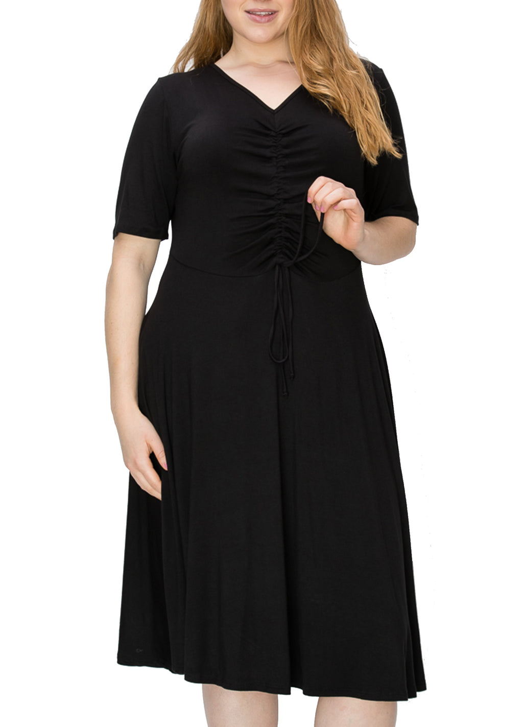 American Blue Women's Plus Size Short Sleeve V-neck Knit Ruched Draped Casual Midi Dresses 1XL 2XL 3XL