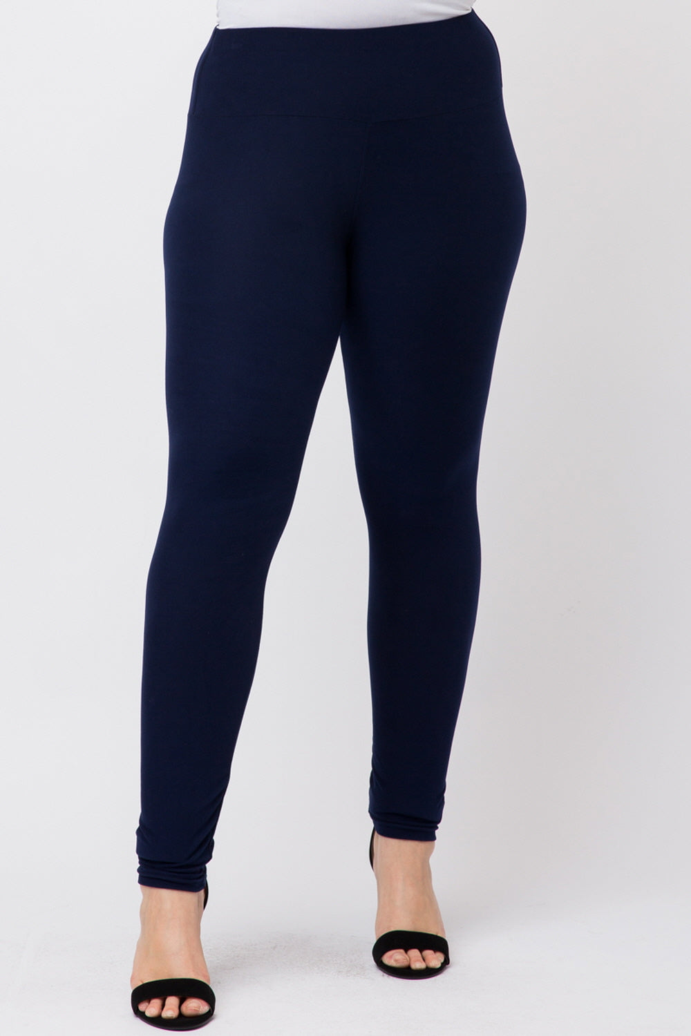 Plus Size High Waist Solid Color Brushed Legging Pants