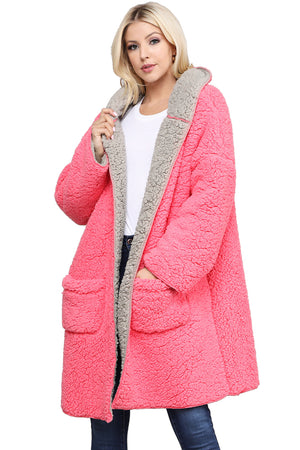 OVERSIZE FAUX FUR SHERPA FLEECE TEDDY BEAR HOODED JACKET COAT WITH COLOR BLOCK CONTRAST LINING