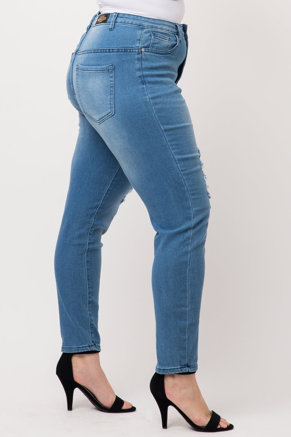 Plus Size High Waist Ripped Distressed Washed Skinny Stretched Cotton Denim Jeans