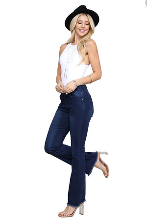 WOMEN'S HIGH RISE FLARE BELL BOTTOM FRAYED HEM BOOTCUT STRETCH JEAN JEGGINGS