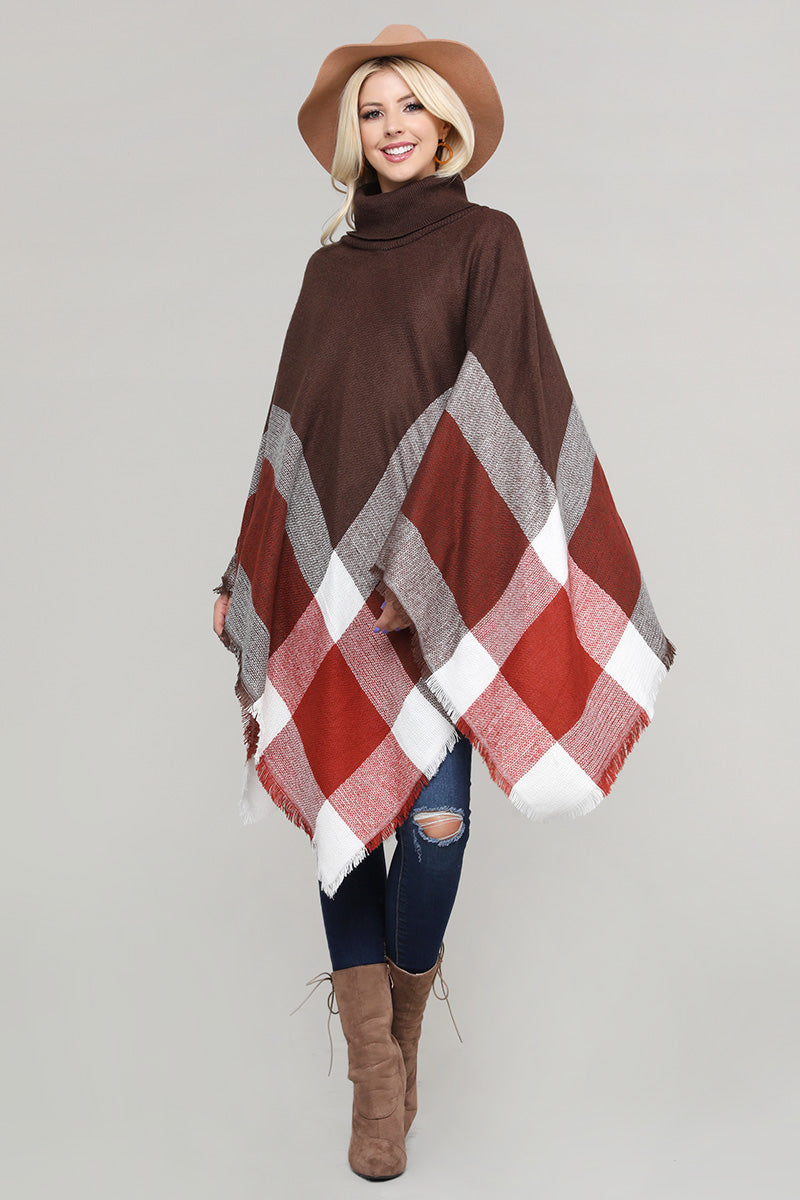 Plaid Asymmetric Fringe Bottom Turtleneck Pullover Poncho