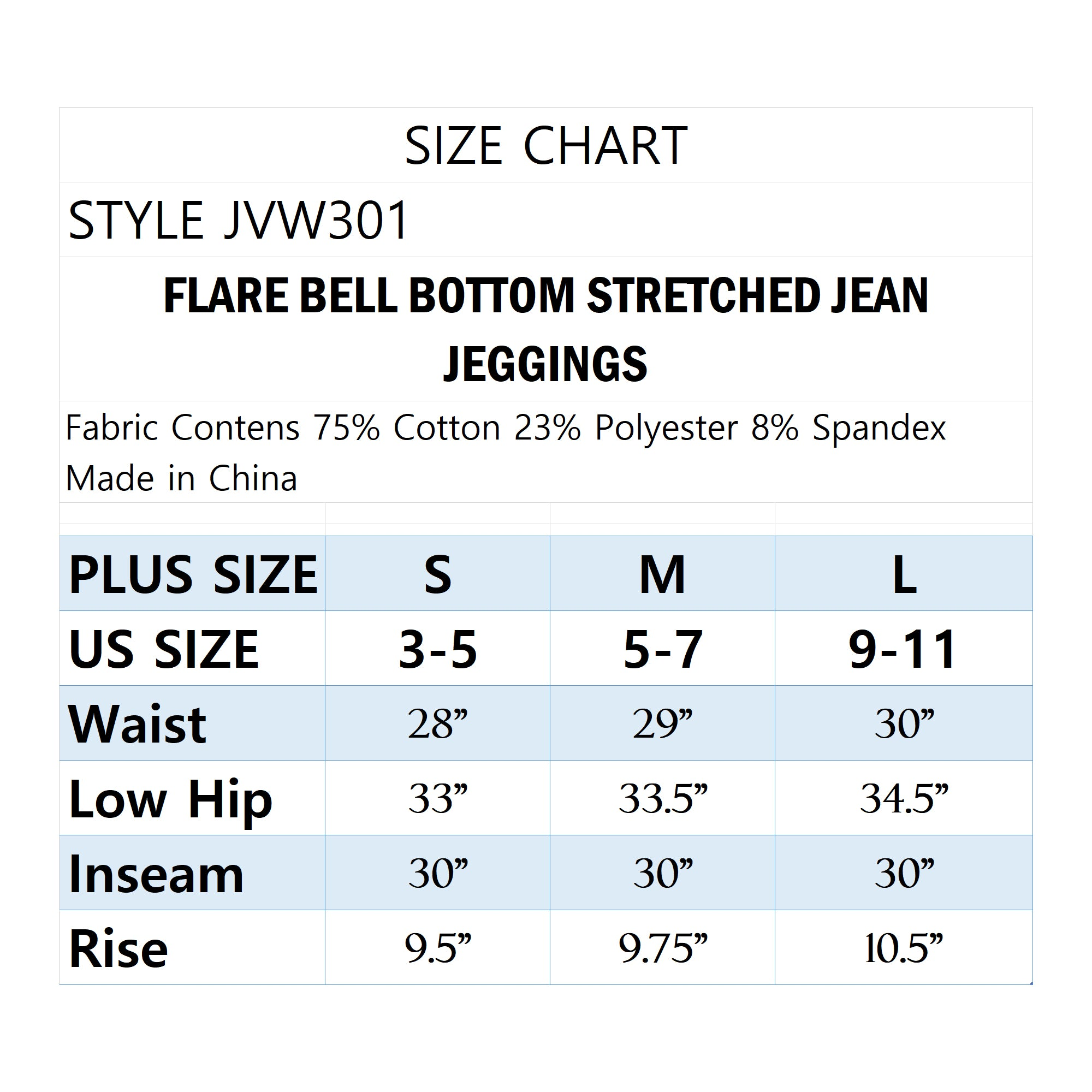 WOMEN'S HIGH RISE FLARE BELL BOTTOM STRETCH JEAN JEGGINGS