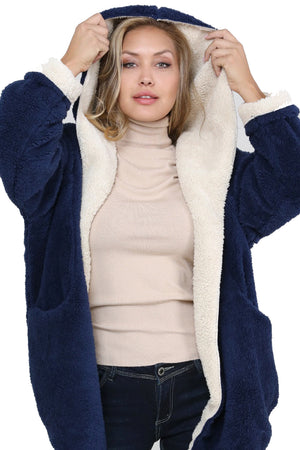 Reversible Teddy Bear Contrast Color Oversized Hooded Sherpa Cocoon Sweater Jacket Coat