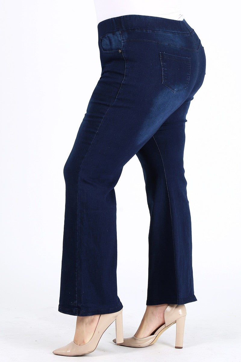 American Blue Plus Size High Rise Flare Bell Bottom Stretched Denim Jeggings Jeans