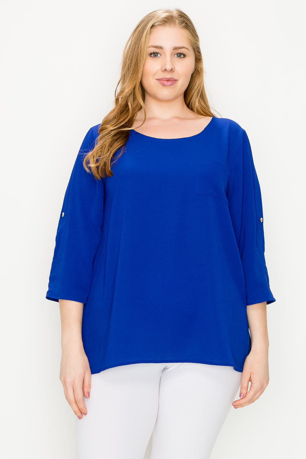 Women's Plus Size Tunic Blouse - Casual Roll Up 3/4 Sleeve Scoop Neck Side Slit Chiffon Shirt Tops Work Office Wear