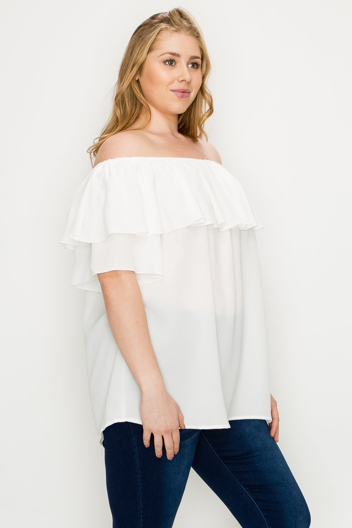Women's Plus Size Off The Shoulder Tops Bell Ruffle Sleeve Koshibo