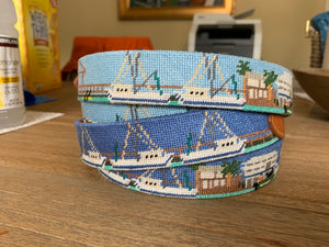 Shem Creek Hand-stitched Needlepoint Belt - Buy Now Before They are Gone!