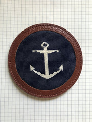 Needlepoint Coaster with Anchor