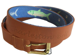 charleston belt logo hand-made needle-point leather belt - charlestonbelt.com