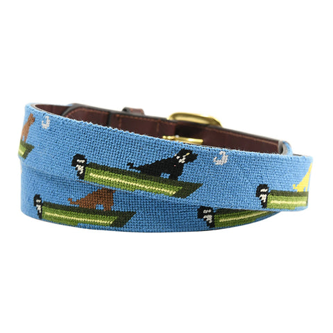 boat dog hand-made needle-point leather belt - charlestonbelt.com