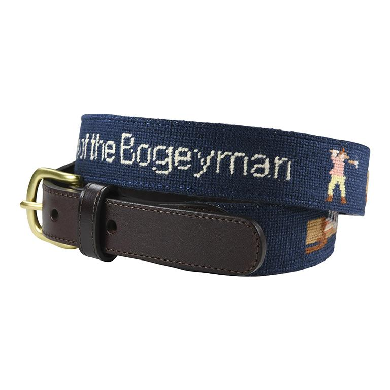hand made needle-point belt beware of the bogey man - charlestonbelt.com
