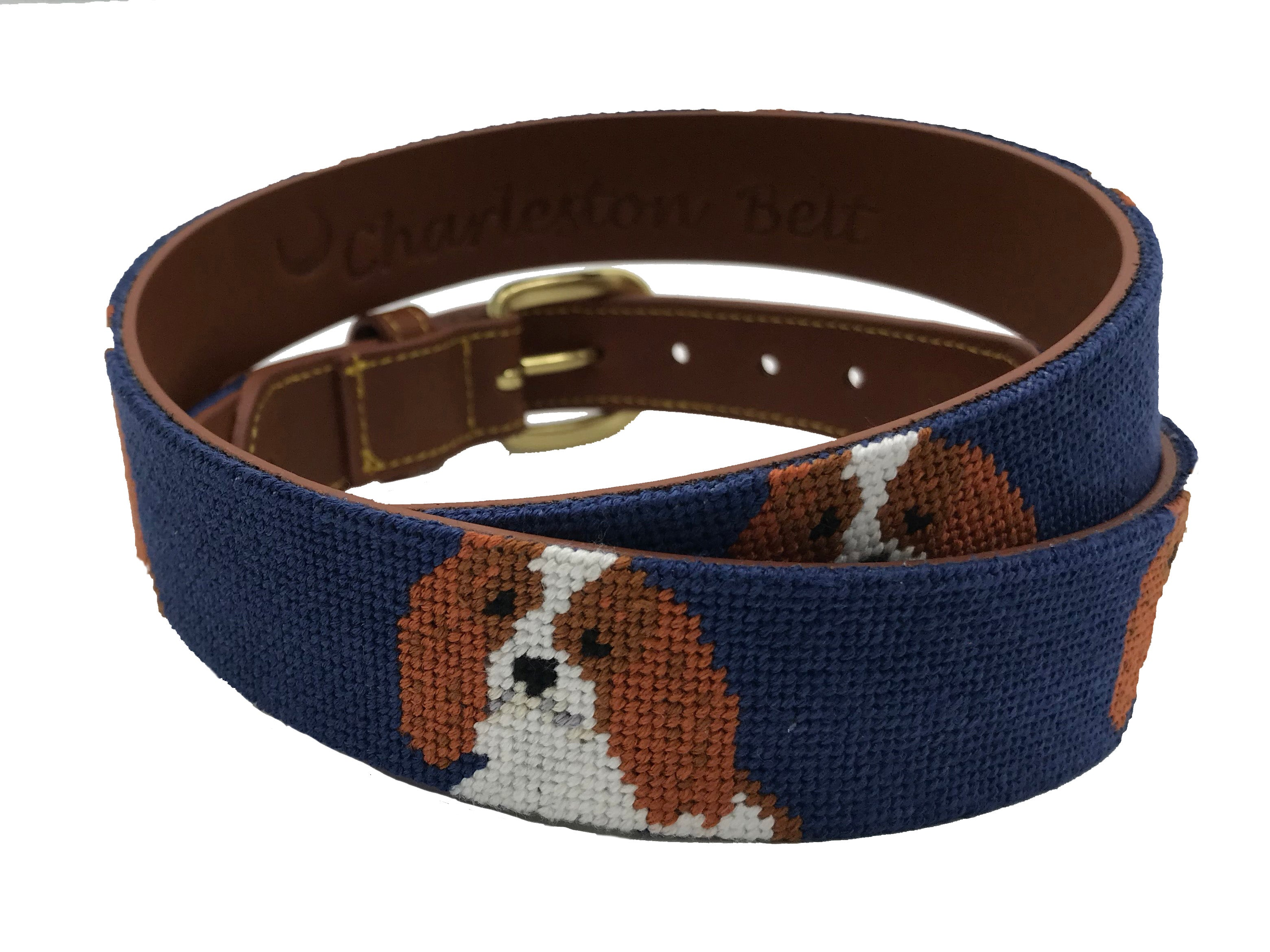 hand-stitched needle-point belt Cavalier King Charles Spaniel - charlestonbelt.com