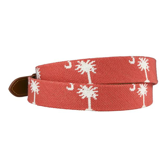 hand-stitched needle-point belt - carolina crescent palmetto - charlestonbelt.com