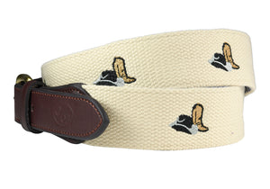 hands-titched needlepoint belts Cowboy Hat and Boot - charlestonbelt.com