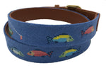 Charleston Belt Dog Fishing Ocean Blue and Tan Needlepoint