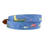 hand-stitched needle-point belts Dog Fishing Ocean Blue and Tan - charlestonbelt.com