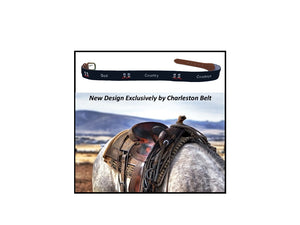 charlestonbelt.com ad for god, country, cowboys design hand-made needle-point belts