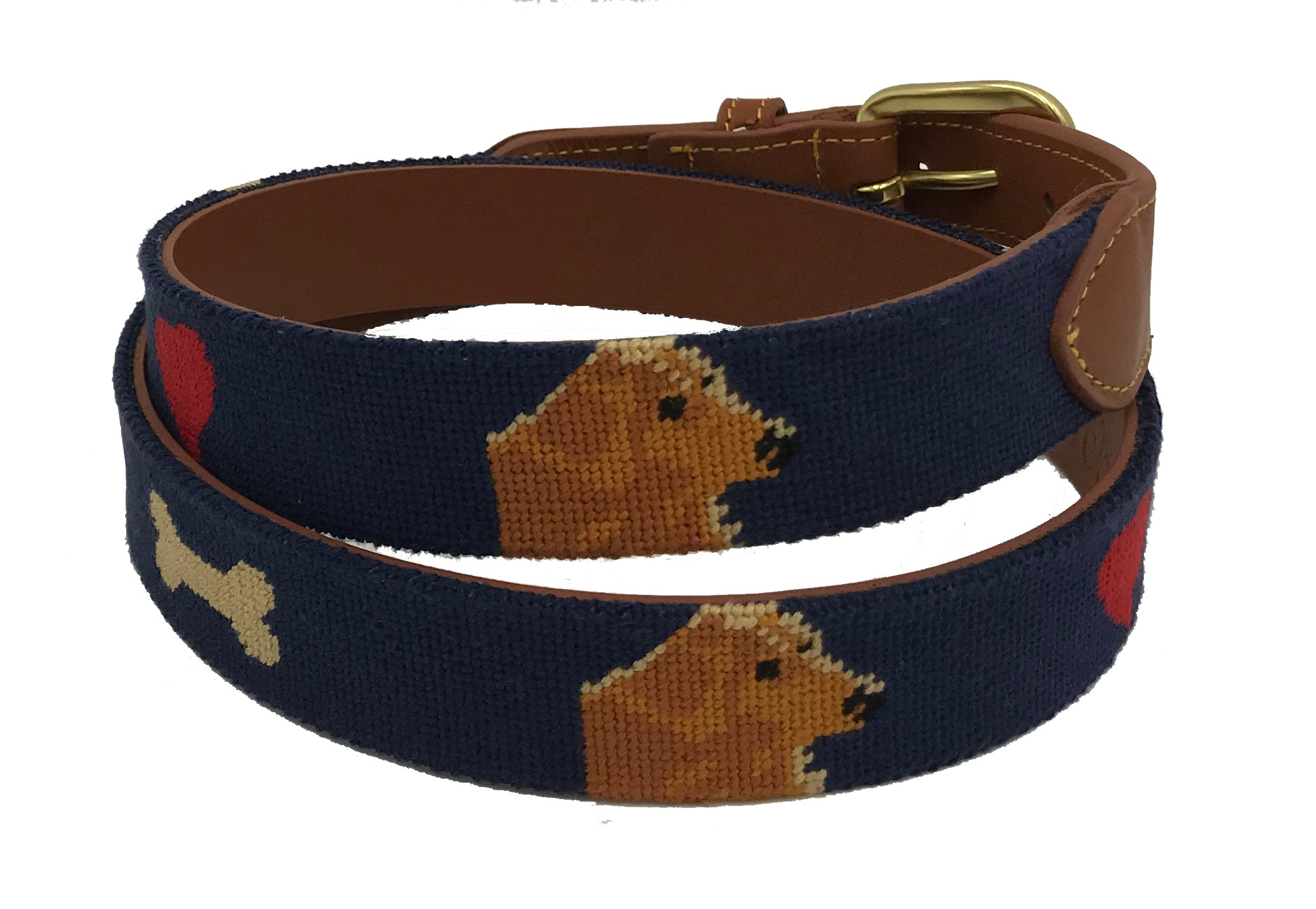 hand-stitched needle-point belts Golden Retriever Dog - charlestonbelt.com
