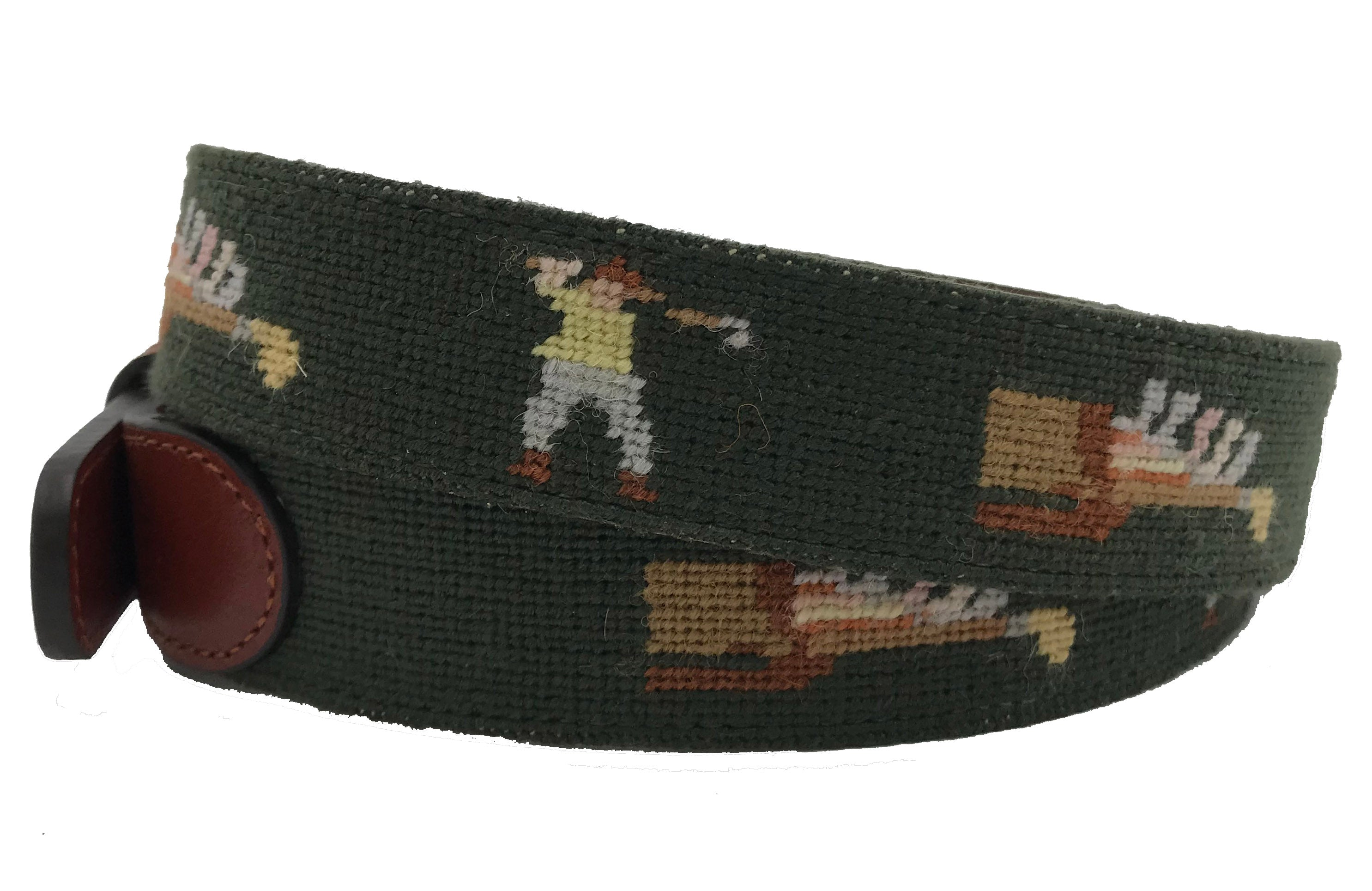 Charleston Belt Golf Clubs And Golfer Swinging Leather Needlepoint Belt