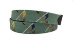 golf clubs and flags crossed hand-made needle-point belt - charlestonbelt.com