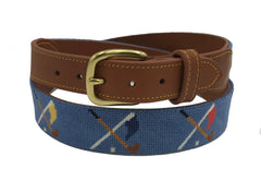 golf club and flag cross hand-made needlepoint leather belt - charlestonbelt.com