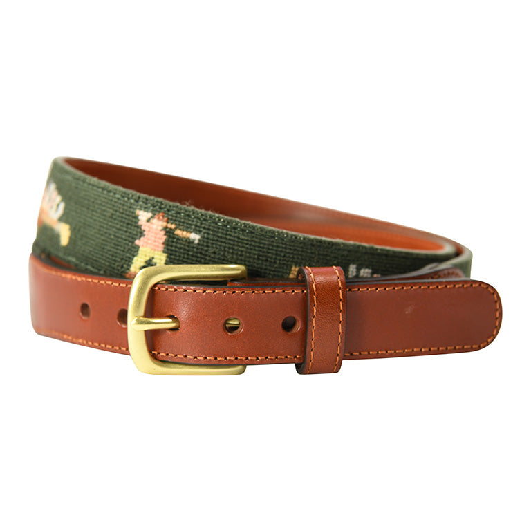 Charleston Belt Golf Forever Fairway Green Leather Needlepoint Belt