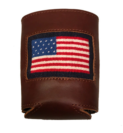American Flag Leather Needlepoint Koozie
