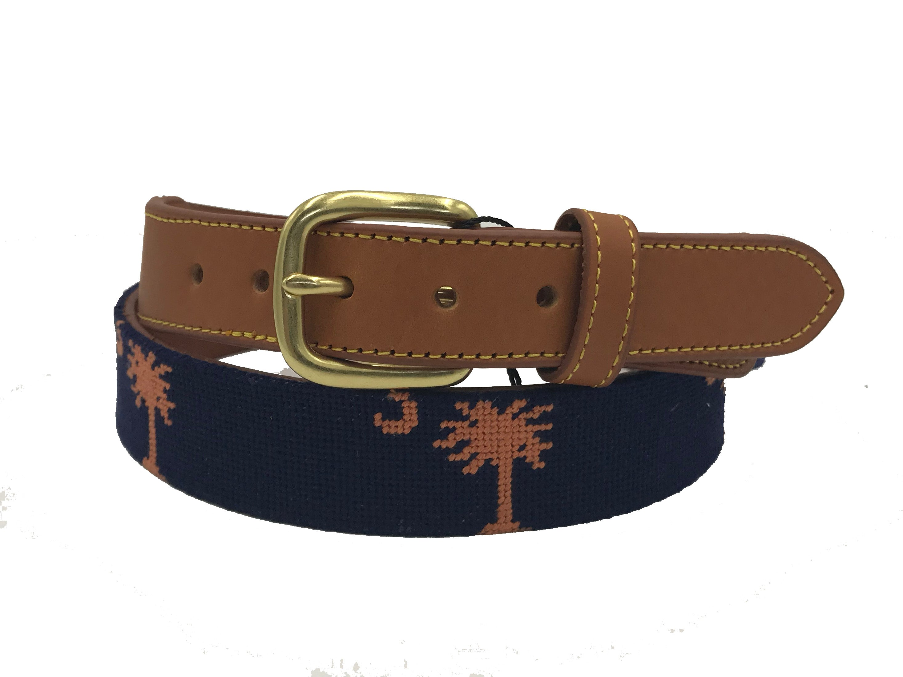 Charleston Belt Carolina Crescent Palmetto Hand-stitched Needlepoint Belt