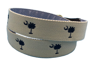 hand made needle-point belt - carolina crescent palmetto on cotton web - charlestonbelt.com