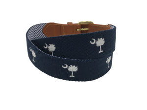 hand made needle-point belt - carolina crescent palmetto on cotton web