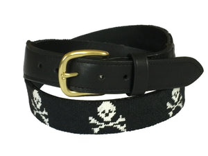 jolly roger - skull and crossbones hand-stitched needle-point belt - charlestonbelt.com