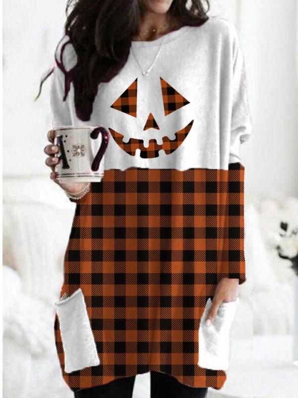 Women's Halloween Pumpkin face Check Print Pocket T-shirt