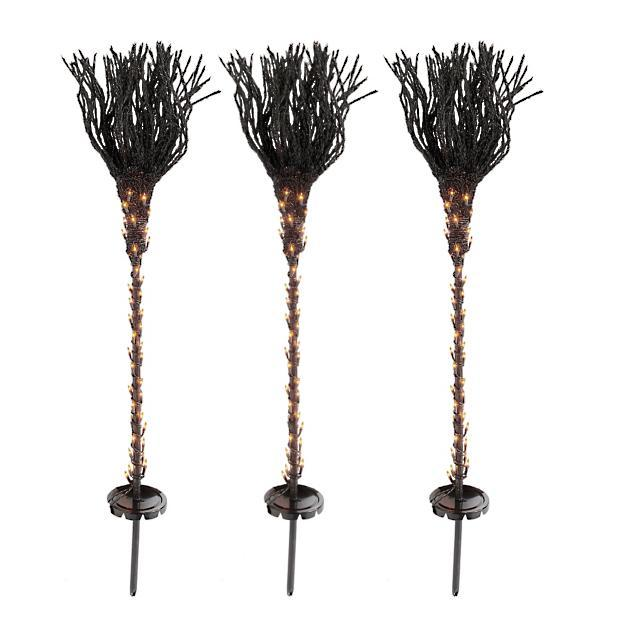 Pre-Lit Broomstick Pathway Markers, Set of Three