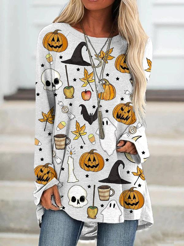 Women's Casual Loose Happy Halloween Pattern Printed Crew Neck Long T-Shirt