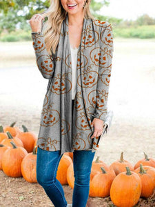 Women's Halloween Pumpkin Face Print Cardigan