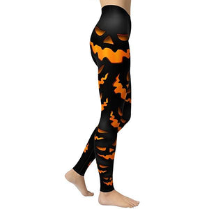Women's Halloween Weird Pumpkin Print Yoga Leggings