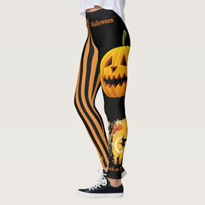 Women's Halloween Witch Pumpkin Print Stretch Leggings