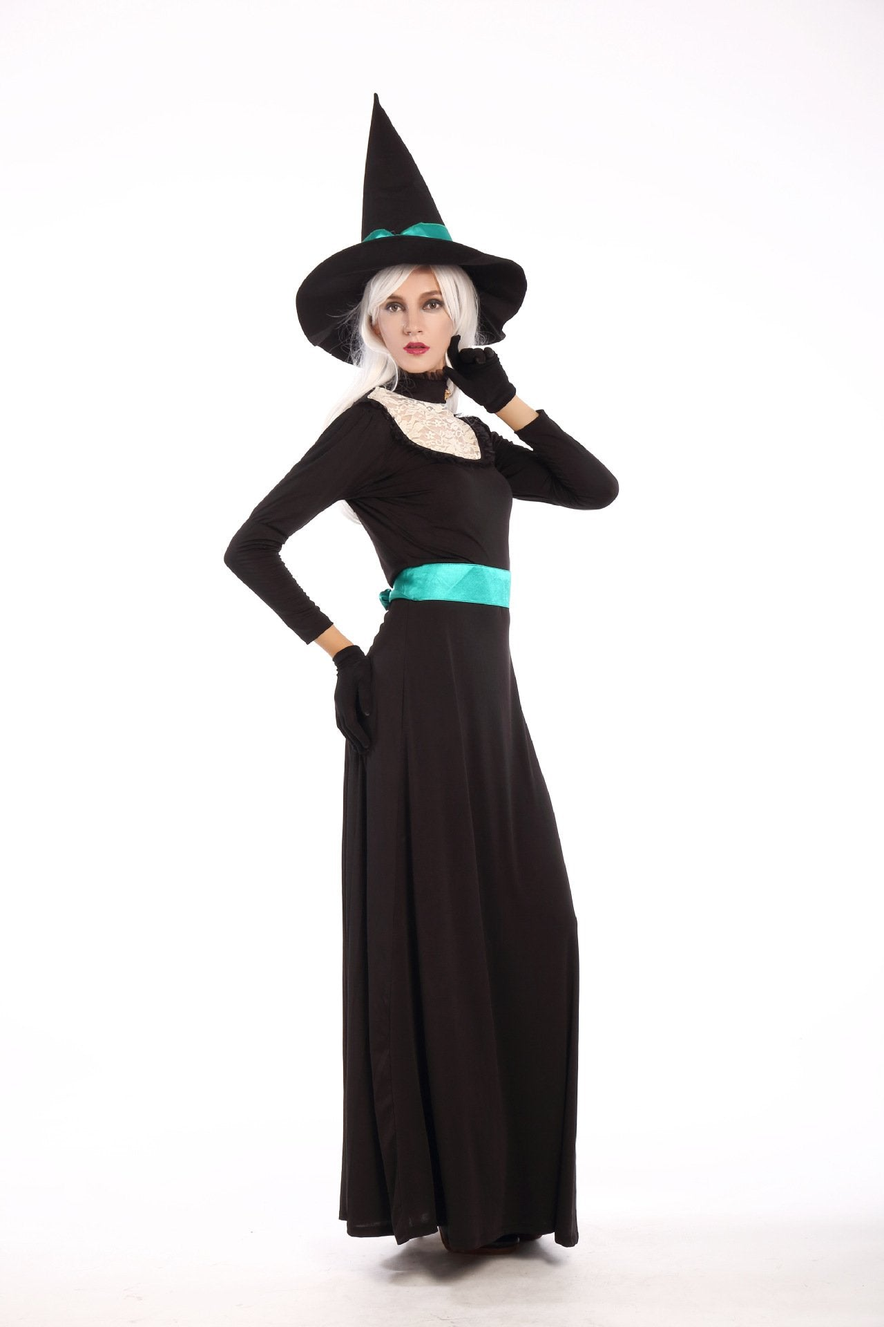Women's Halloween Witch Dress with Peaked Cap and Square Collar Cosplay Long Sleeve Dress