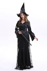 Ladies Halloween Spider Web Witch Dress V-neck Long Sleeve Peaked Hat Net Yarn Dress