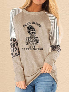 Women's Halloween Dead Inside But Caffeinated Printed Leopard Print Patchwork Casual Sweatshirt