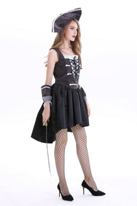 Ladies Halloween pirate captain cosplay costume party lace-up dress
